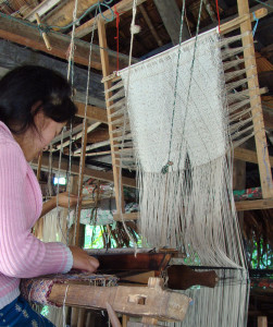 The heddle on the loom.
