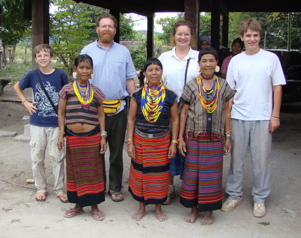 Maren, Josh, Ari and Zall with Lawae elders in Attapeu Province, southern Laos (2008)