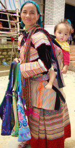 Flower Hmong mom and baby.