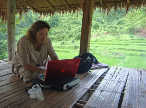 In a rice field resting hut near the border between a Laos and Myanmar, with internet connection!