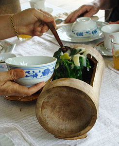 One of the bamboo soup tureens made in the Khamu village.