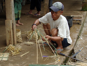 """Hex"" symbols are being woven for the ceremony to appease the spirits of the rice fields and ensure a good crop."