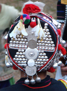 An Akha headdress shown from behind.