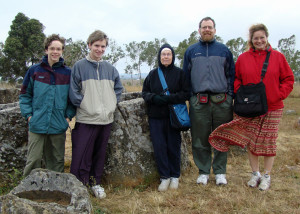 All of us, including Grandma, at the Plain of Jars – it was COLD!