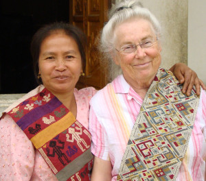 Grandma's modeling her scarf gifted by Mrs. Loum, master dyer.
