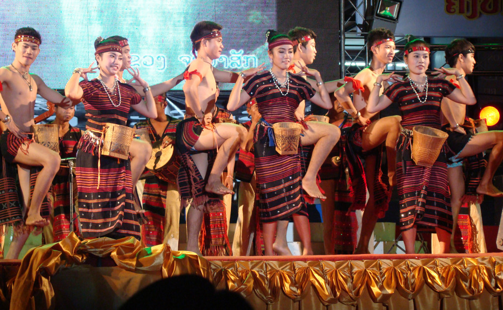 Dancers from the Lawae culture dance at the celebration in Vientiane.