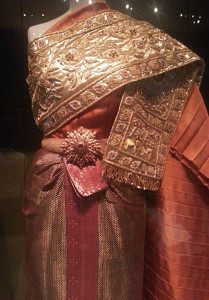 One of Queen Sirikit's dressed worn on her European tour with the King in the 1960s – stunning cloths representing the best of Thai textile weaving and design. Photo courtesy of John Ang.