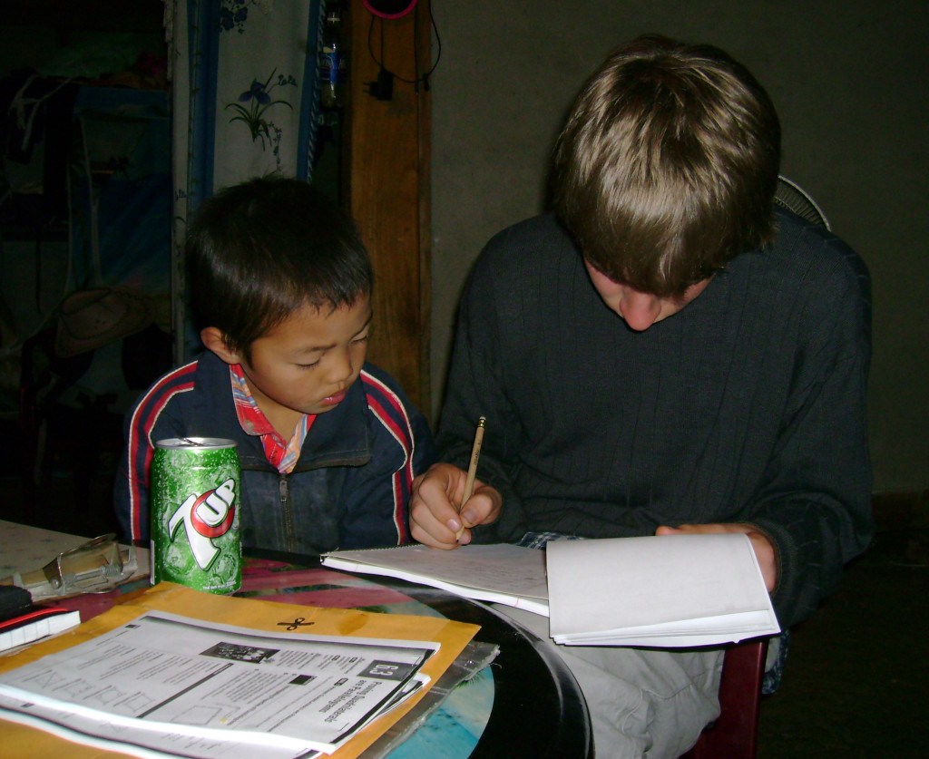 Ari and his geometry buddy at a homestay near Sapa, Vietnam.