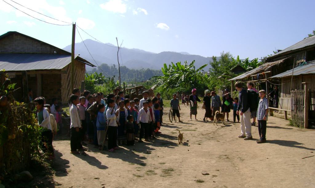 School let out in this Akha village to greet a novel visiting group – us!