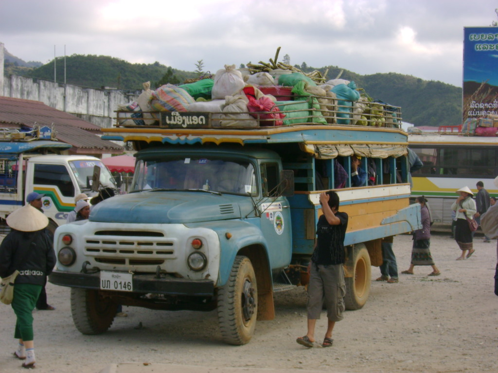 A local bus getting ready for the 6-hour drive from Xam Neua to Xam Tai.