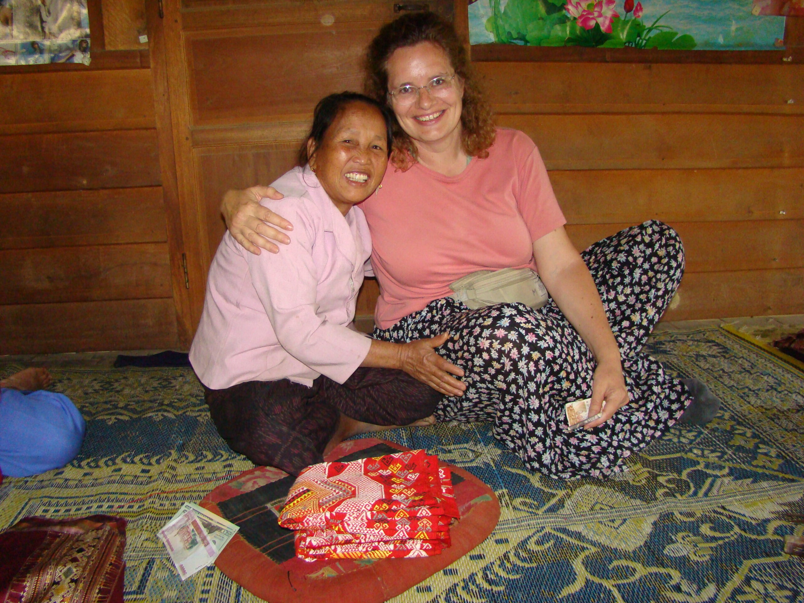 "Sukavit and Maren in 2007 - our second visit. Sukavit, a village elder and ""most-determined social-leader,"" took it upon herself to full-heartedly welcome us into the community, which opened up so many doors for us. She and Maren are ""two peas in a pod."""