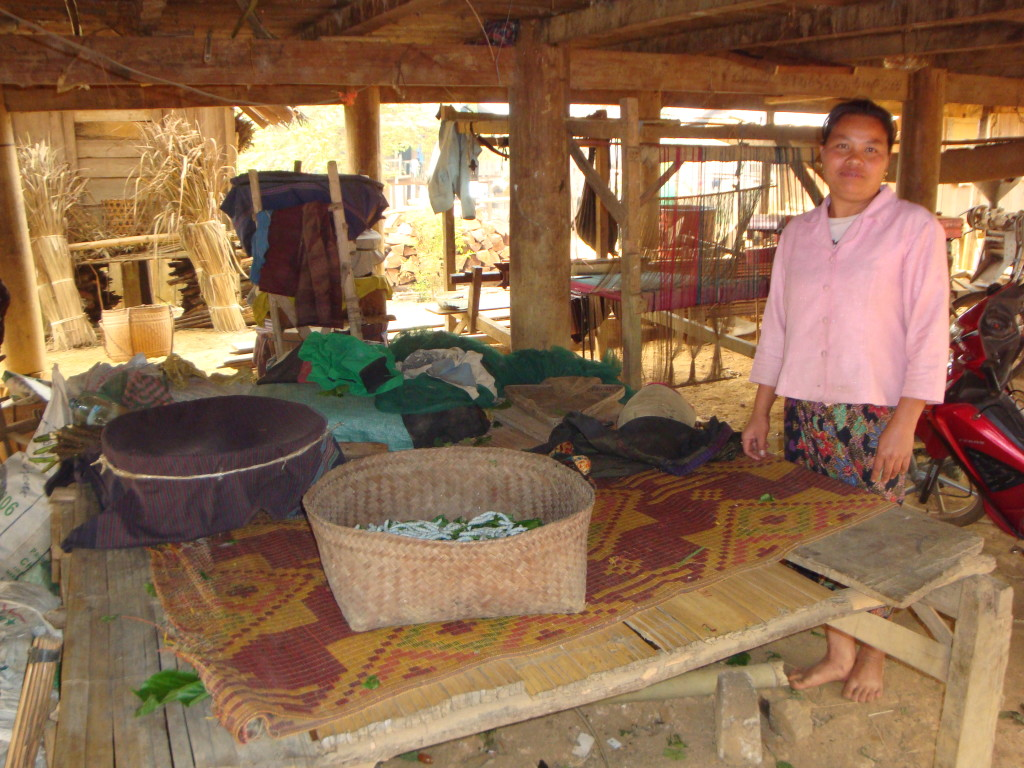The basket weaver's daughter-in-law shows off their crop of maturing silkworms.