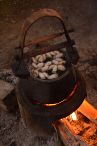 The cocoons are put into boiling water for about a minute before the silk is hand-reeled.