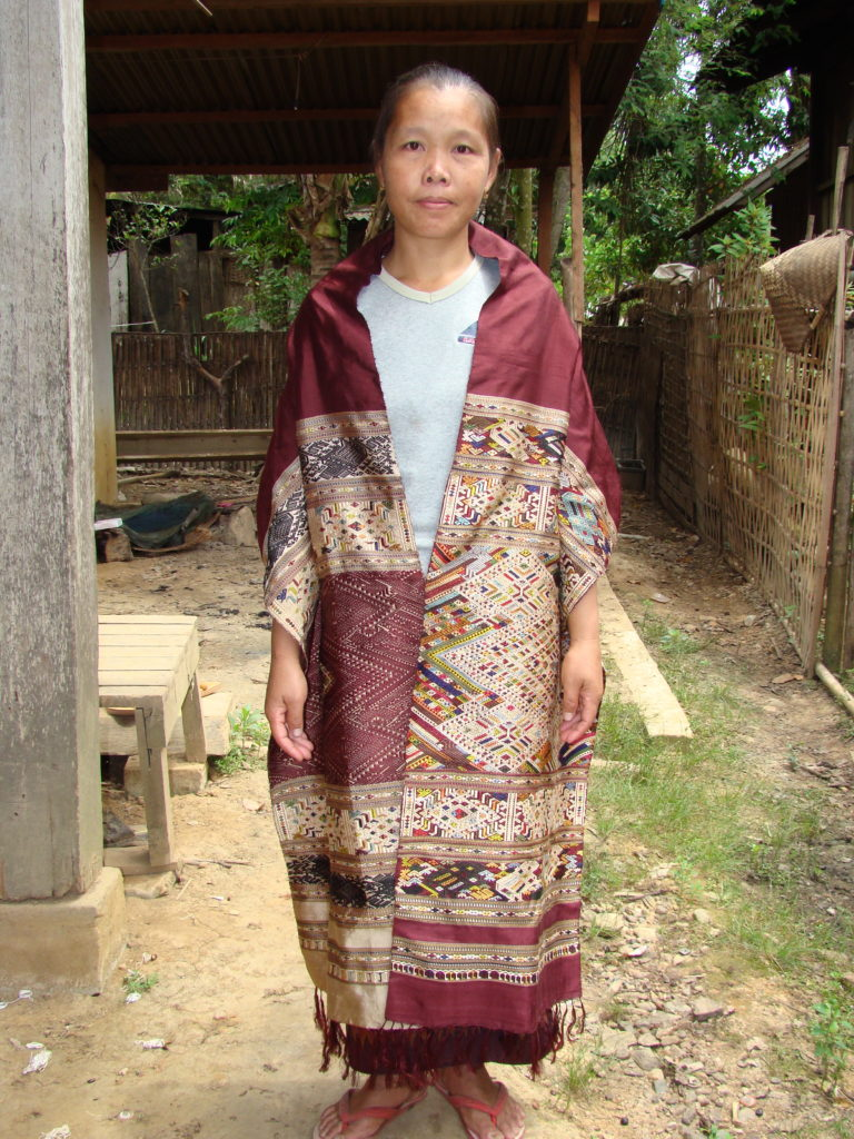 "Another 100% natural-dyed silk ""man-woman"" healing cloth modeled by the weaver."