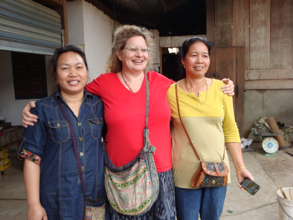 Two of Maren's good friends: Phout on the left, and Souksakone on the right.  Both are leading textile weavers, dyers and designers in Houaphon Province