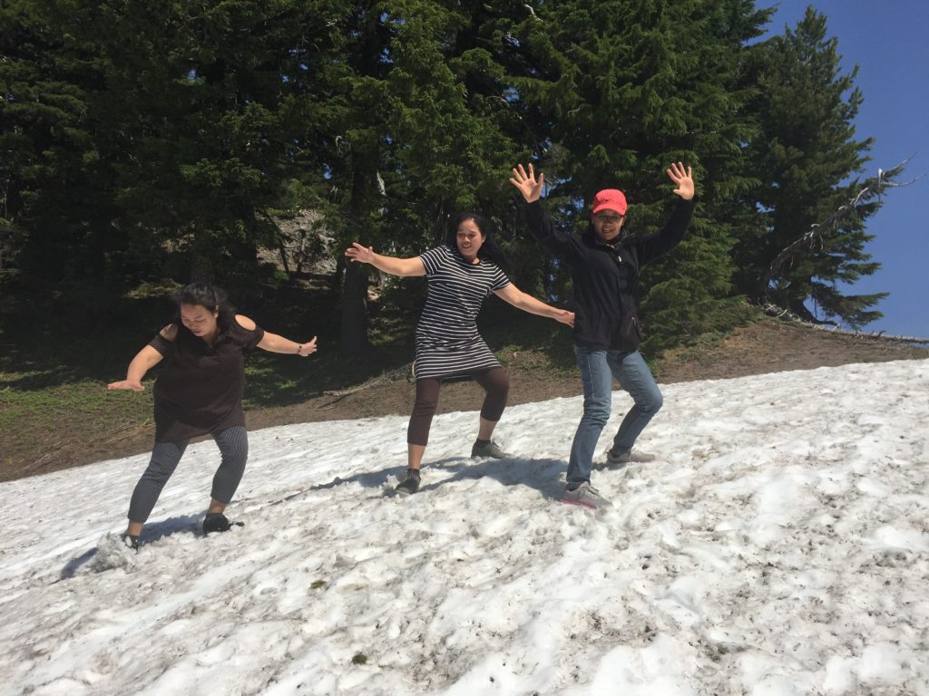 Enjoying snow for the first time at the rim of Crater Lake.