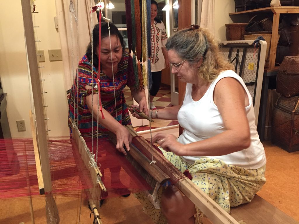 Setting up the new loom.